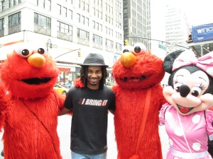 ELMOPACOLYPSE. There were three Elmo's but only two made it into the picture, Minnie mouse was also awesome.